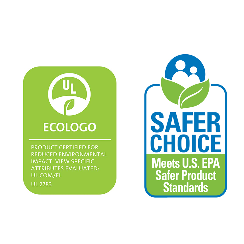 EPA registered and Eco Logo or Green Seal certified